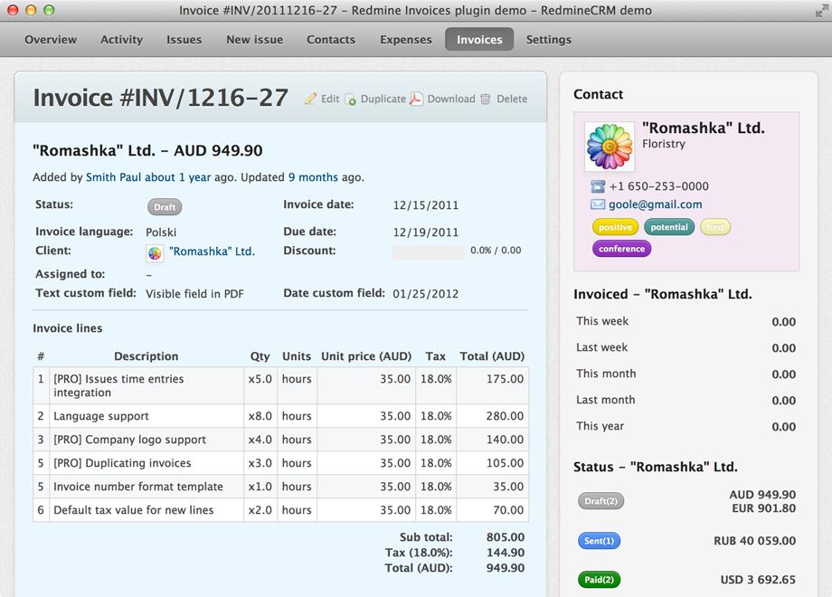 invoice | Redmine Plugins Promo Codes