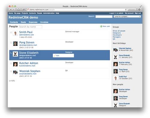 Redmine People: plugin para crear un completo directorio de usuarios en Redmine